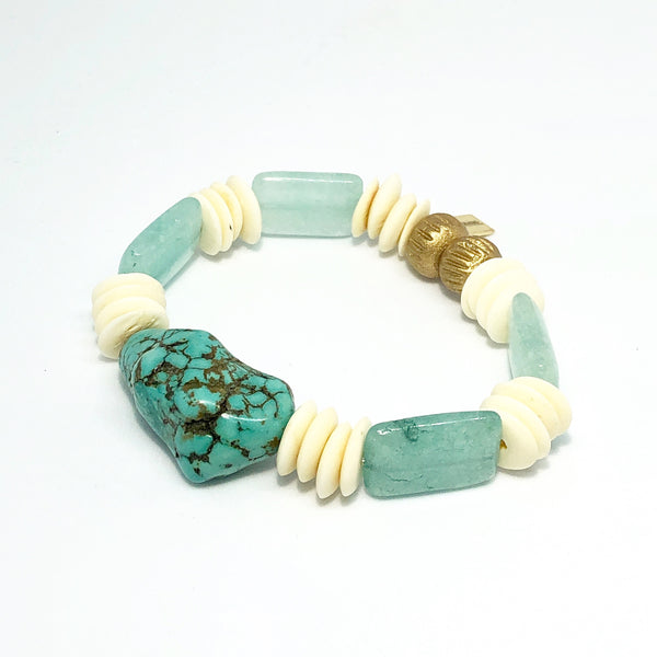 White shell and Turquoise