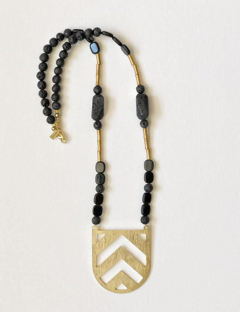 Black and Gold Chevron Long