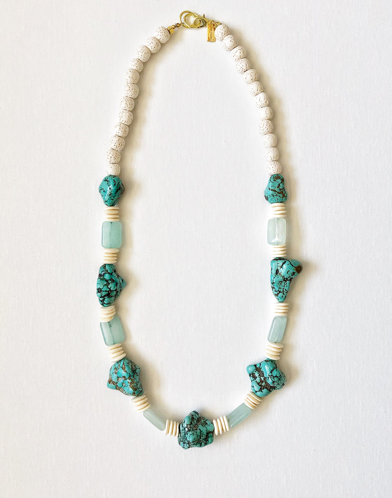 Turquoise and Coral Medium