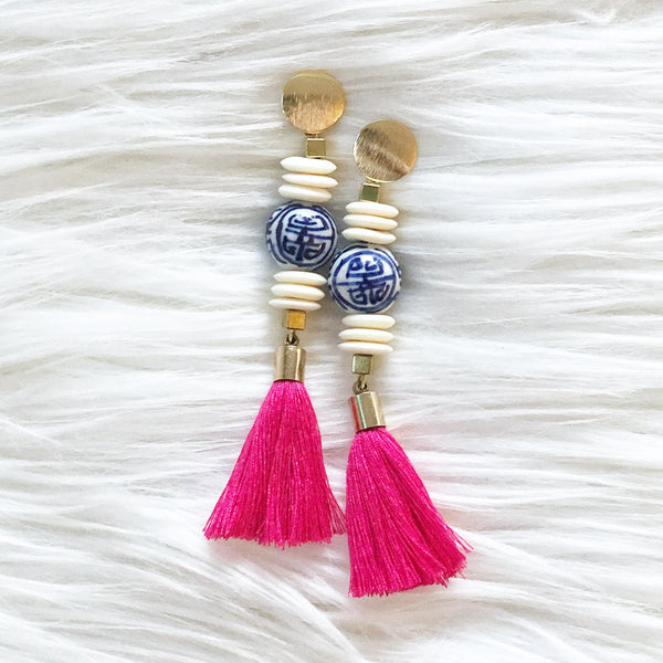Chinoiserie Bead with Fuchsia Tassel