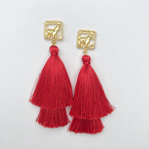 Brass Elephant + Double Red Silk Tassel
