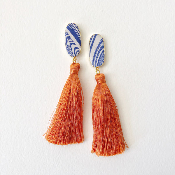 Blue Jasper + Orange Silk Tassel