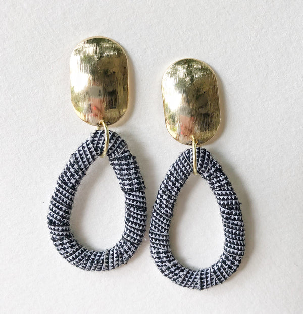 Brass Oval + Teardrop Houndstooth
