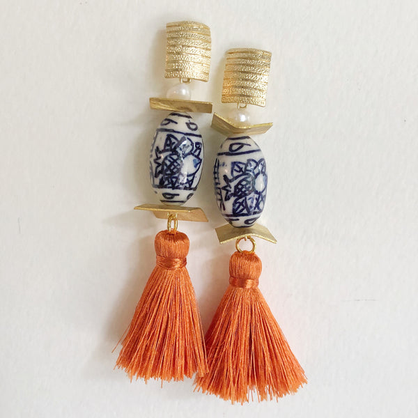 Chinoiserie Oval + Orange Silk Tassel