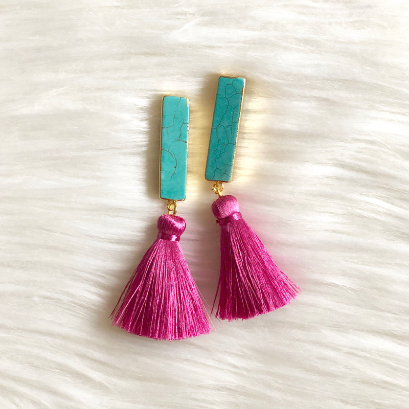 Turquoise and Raspberry Tassel