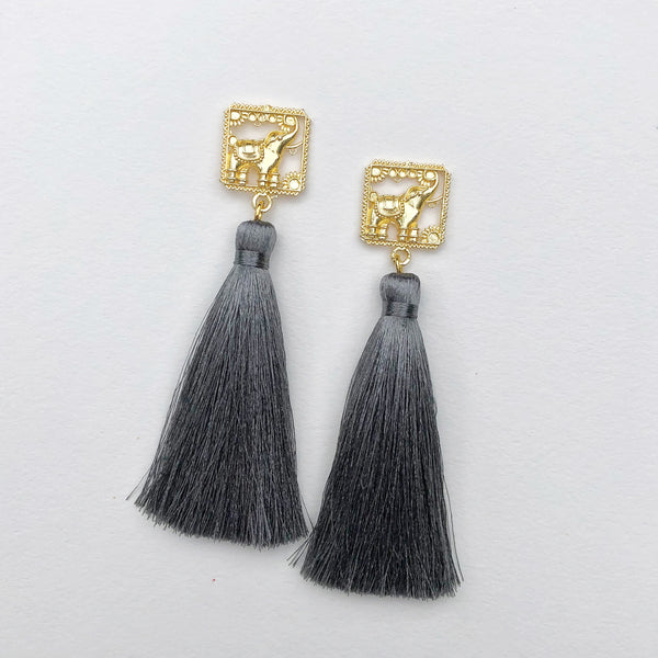 Brass Elephant + Dark Grey Silk Tassel