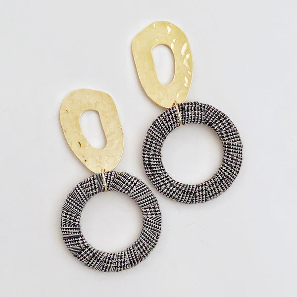 Brass Ring + Houndstooth Hoop