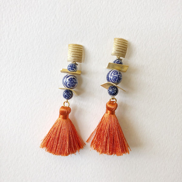 Chinoiserie + Orange Silk Tassel
