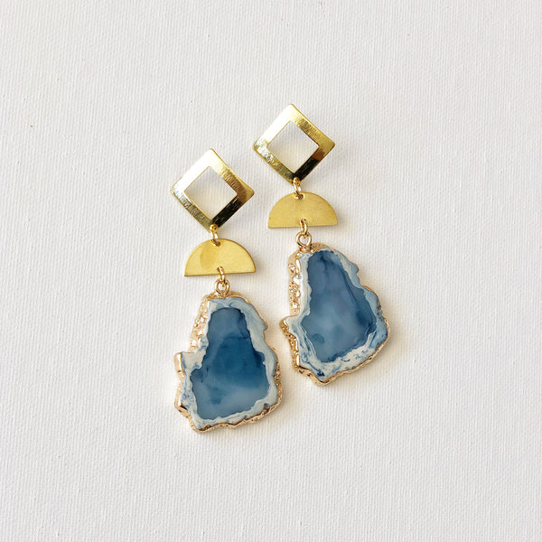 Blue Stone with Gold Diamond