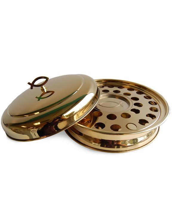 Stackable Communion Tray with Center Bread Plate integrated and Tray Cover - Stainless Steel Brass Tone