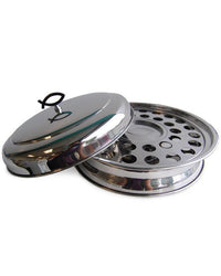 Stackable Communion Tray with Center Wafer Plate integrated and Tray Cover - Stainless Steel Silver Tone