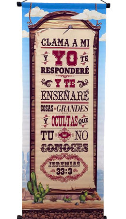 Clama a mi-Jeremias 33: 3 -Banner-Wall Scroll