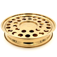 Rincon Cristiano | Comm Tray | Capacity for 33 cups and large amount of wafers | Stackable | Base, Disk with Bread Plate Integrated and Cover | Stainless Steel | Brass Tone