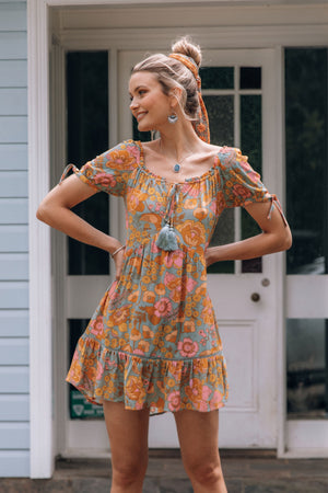 Open image in slideshow, boho floral mini dress