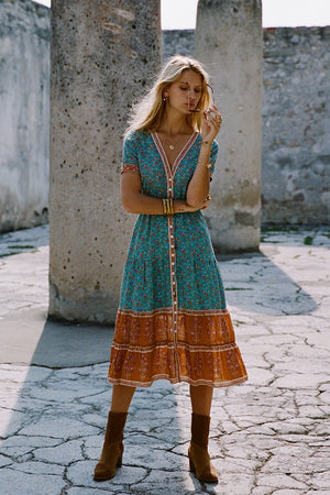 Open image in slideshow, boho midi dress