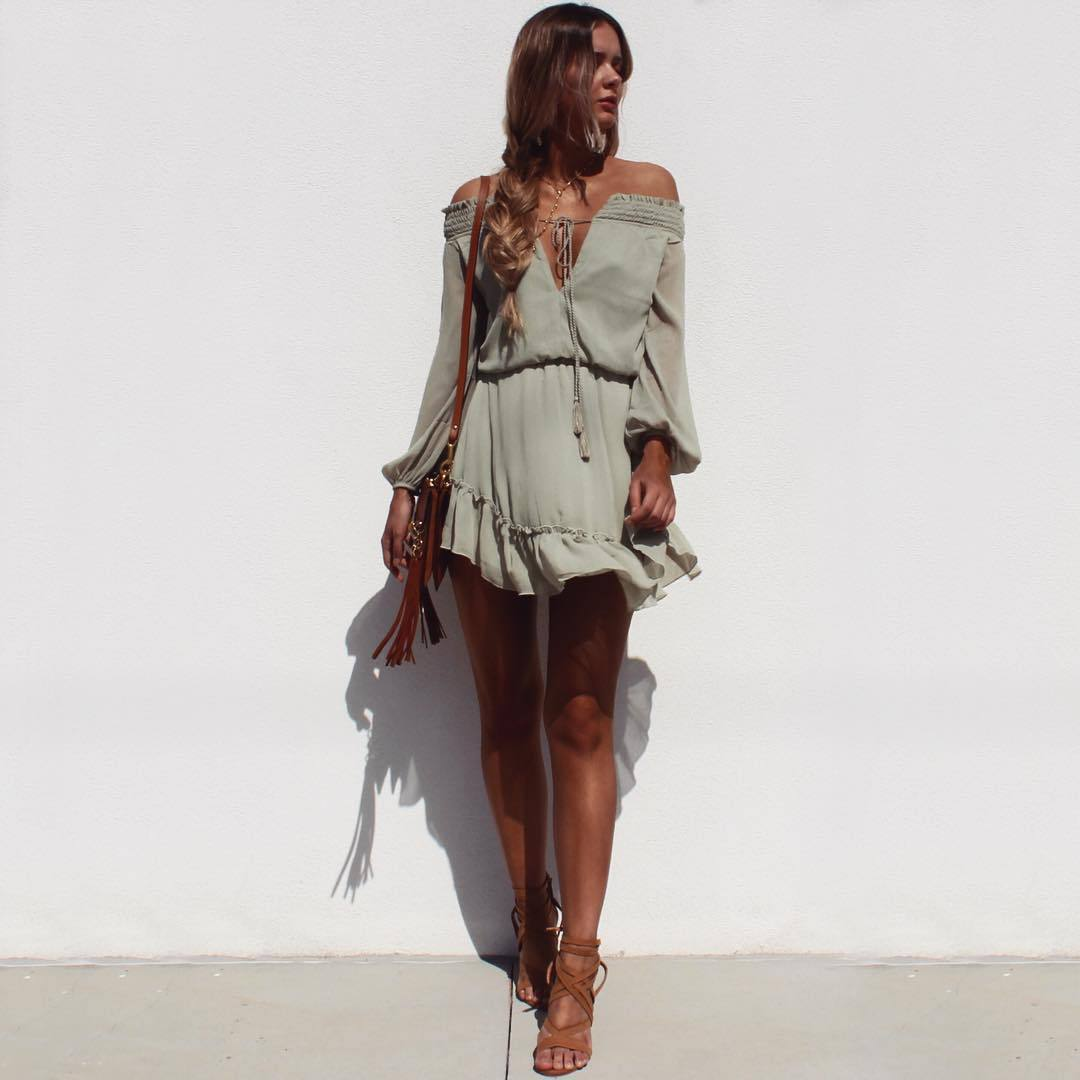 casual off the shoulder mini dress