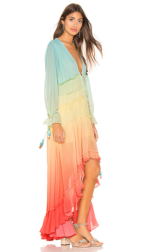 high low rainbow dress