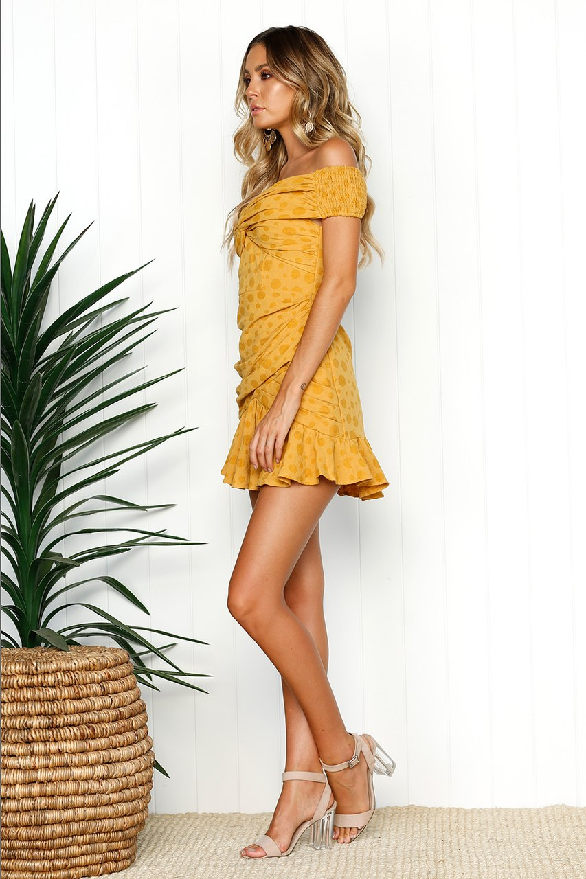 mustard yellow off shoulder dress