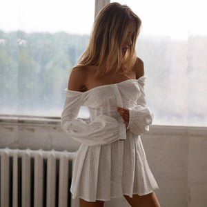 Open image in slideshow, Pearl White Off The Shoulder Dress