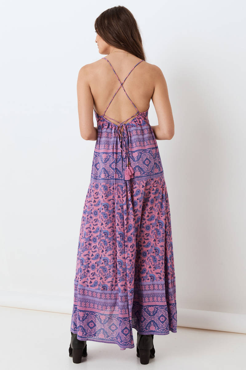 purple boho maxi sundress