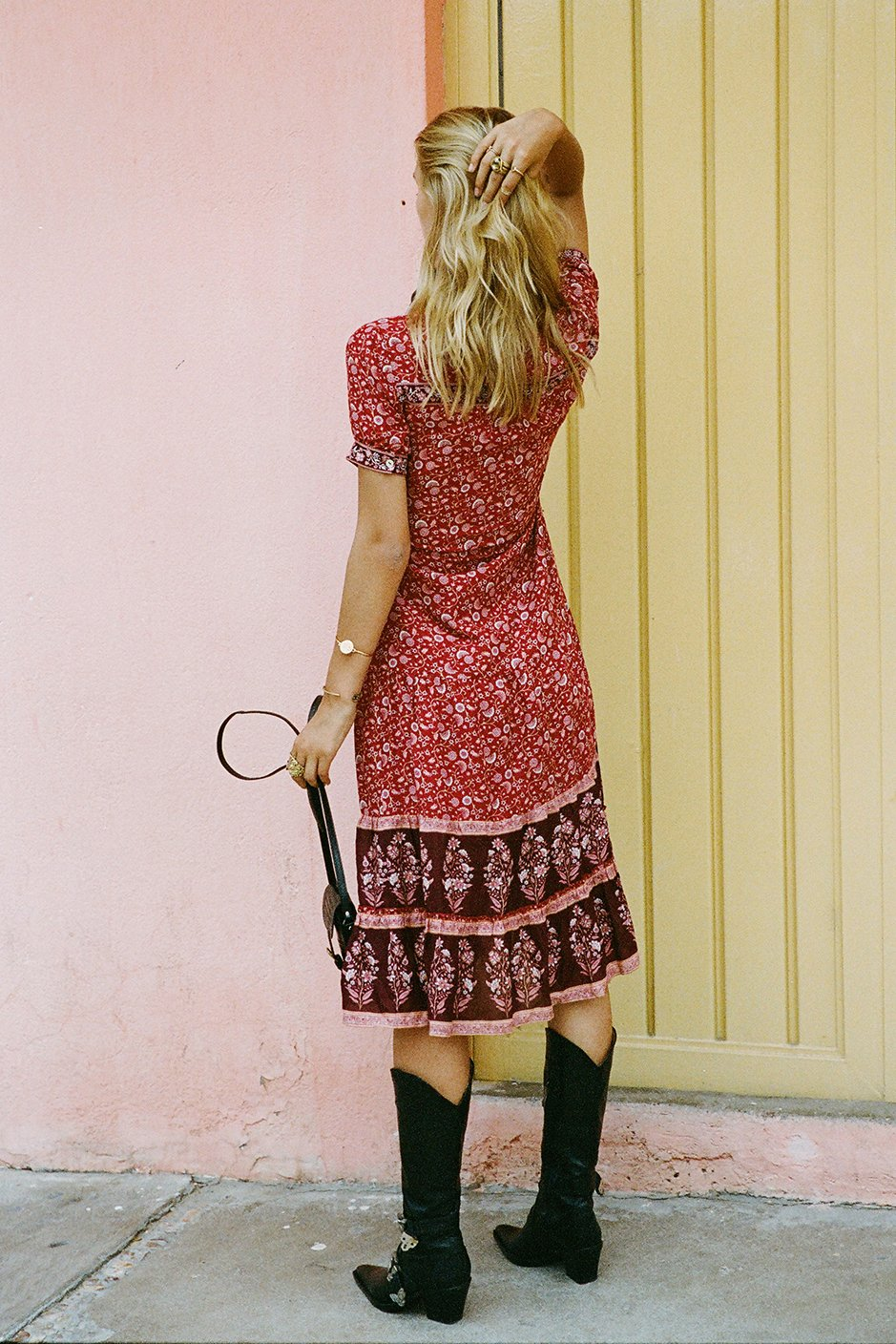 red boho sundress