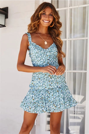 Open image in slideshow, teal floral mini dress