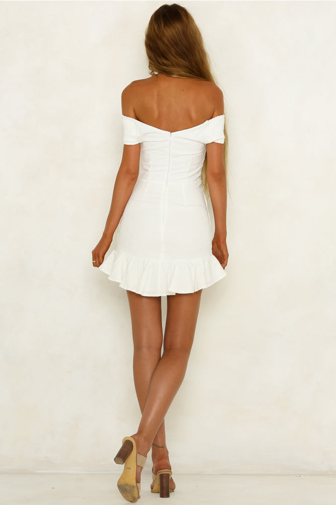 white off the shoulder ruffle mini dress