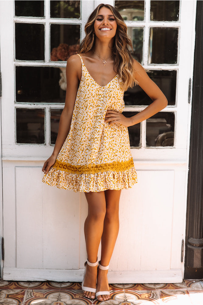 yellow floral print mini dress