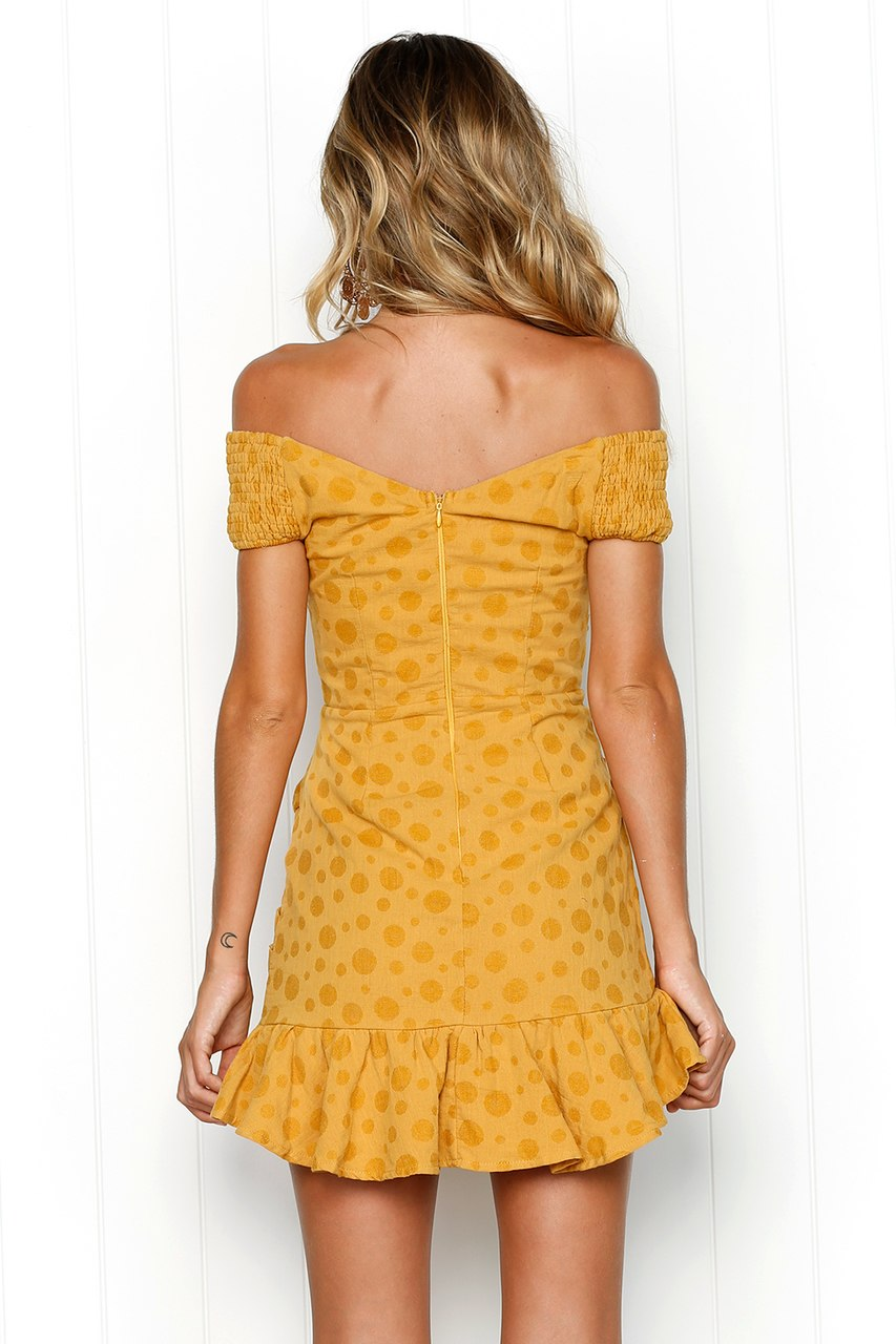 yellow polka dot off shoulder mini dress