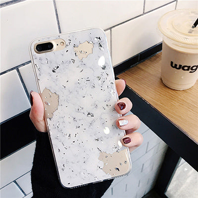 WHITE MARBLE SILVER FLAKE CASE - Cases by Klein