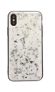 SILVER FLAKE WHITE MARBLE CASE - Cases by Klein