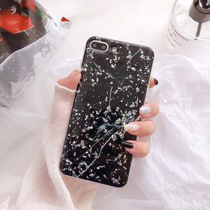 SILVER FLAKE BLACK MARBLE - Cases by Klein
