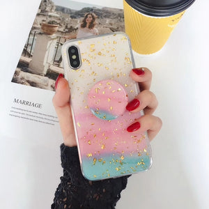 PASTEL GOLD FLAKE CASE WITH POPSOCKET - Cases by Klein