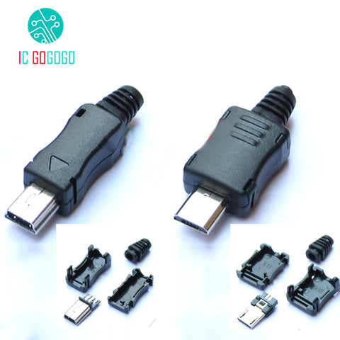 10 stks Mini Micro USB Mannelijk Connector Plug Interface DIY Kits Datakabel Opladen Draad Terminal Blok Adapter Charger Socket