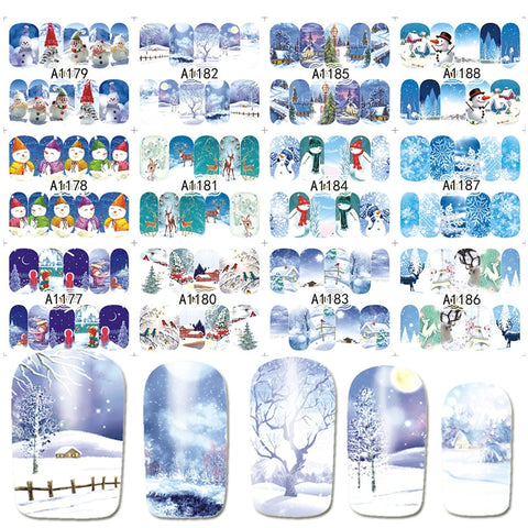 12 Ontwerpen in 1 set Winter Sneeuwvlok Volledige Wraps Nail Art Water Transfer Stickers Kerst Stijl Manicure Decal DIY BEA1177-1188   Ur Beautiful