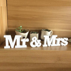 3 stks/set Bruiloft Decoraties Mr & Mrs Mariage Decor Event Party Decoratie Witte Letters Bruiloft Teken Pièce Levert