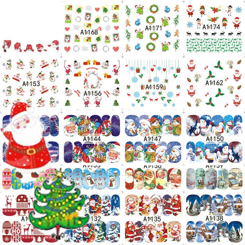 48 Vellen Kerst Gemengde Decals Nail Art Water Transfer Stickers Volledige Wraps Kerstman/Boom/Sneeuwvlok Nail Tip Decor DIY LAA1129-1176      SWEET TREND