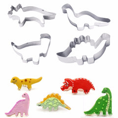 4 stks Dier Dinosaurussen Cookie Cutter Set Biscuit Cookie Cutter Bakken Tools voor Gebak Rvs