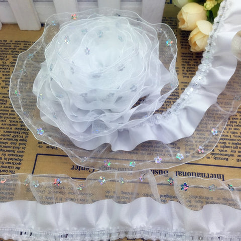 5yds 3-Layer 45mm Breed Organza Kant Verzameld Plisse Lovertjes Trim U Pick