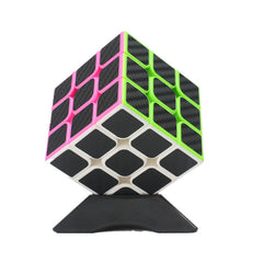 Classic Magic Cube Toys 3x3x3 PVC Sticker Blokpuzzel Speed Cube Fiber Carbon