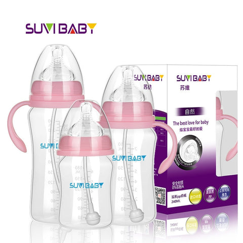 Baby PP Milk Feeding Bottle Newborn Anti-Flatulence Wide Mouth with Handle Straw Unbreak Clearance low price