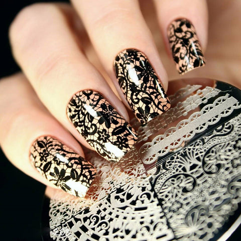 Geboren Pretty Chic Kant Patroon Nail Art Stamping Template Afbeeldingsstempel Plate BP02 Nail Stempelen Platen Nail Art Decoraties   Born Pretty