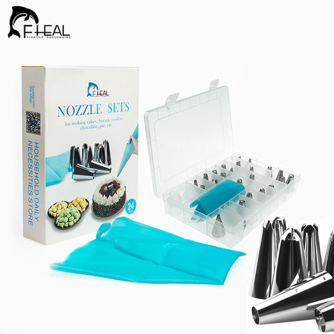 27pcs/set Stainless Steel Cake Decorating Nozzles Tool With Silicone Icing Piping Cream Pastry Bag Converter DIY Tools    FHEAL