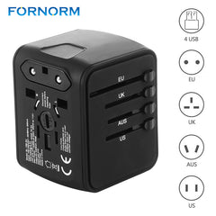 FORNORM Universele Reislader Adapter 4 USB Deel Adapter Wereldwijd Elektrische Socket US UK EU AU Internationale Reis