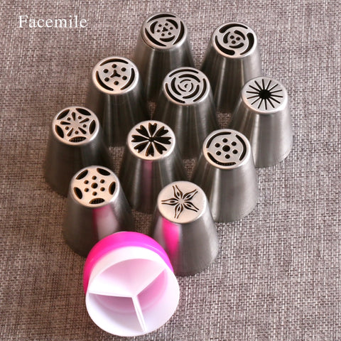 Fondant Decoratie Russische Icing Piping Tips Cake Gebak Decorating Nozzle Kit (10 STKS) 1 Koppeling 53033  FACEMILE