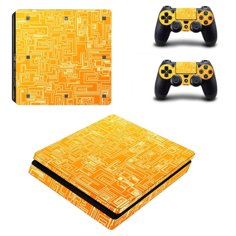Goud PS4 Slim Skin Sticker Decals Ontworpen voor PlayStation4 Slanke Console en 2 controller skins