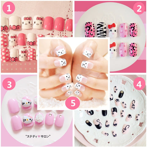 HELLO KITTY THEMA Nep Nagels Valse Ongles Volledige Nails Tips Art KAT Decoratie Salon DIY Manicure voor Lady Makeup