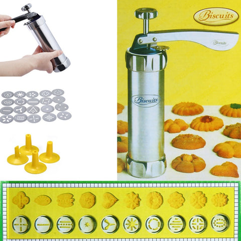 Metalen Biscuit Cookie Making Maker Pomp Persmachine Cake Decor Set Ergonomische Handvat Koken Tool Mould met 20 Moulds 4 Nozzles   Finether