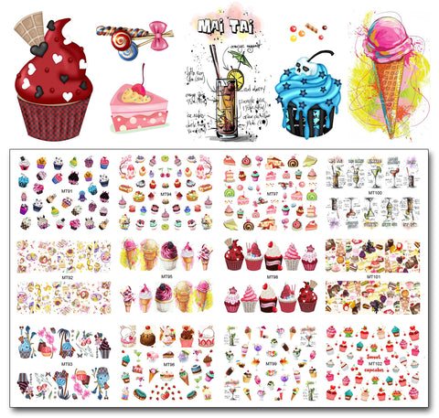 Nail 12 Sheets/Lot MT91-102 Kleurrijke Cake Cool Drink Ijs Nail Art Water Decal Sticker Voor Nail Art Tattoo Decoratie   MouTeen