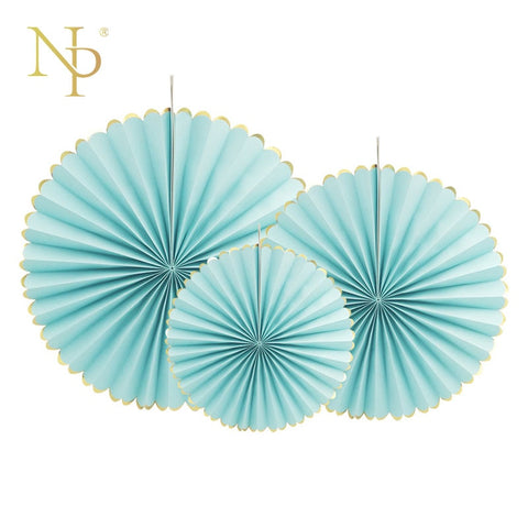 Nicro 3 stks/partij goudfolie side Blauwe Bloem Papier Fan Tissue Ambachten Decor Bruiloft Verjaardag Party Home Decor Leveranties Papier fan